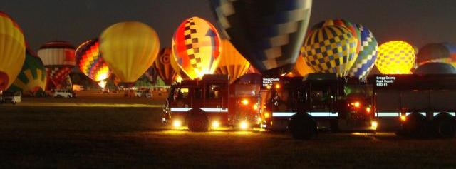 ELVFD Engines 2, and 3 with the hot air baloons in the background.